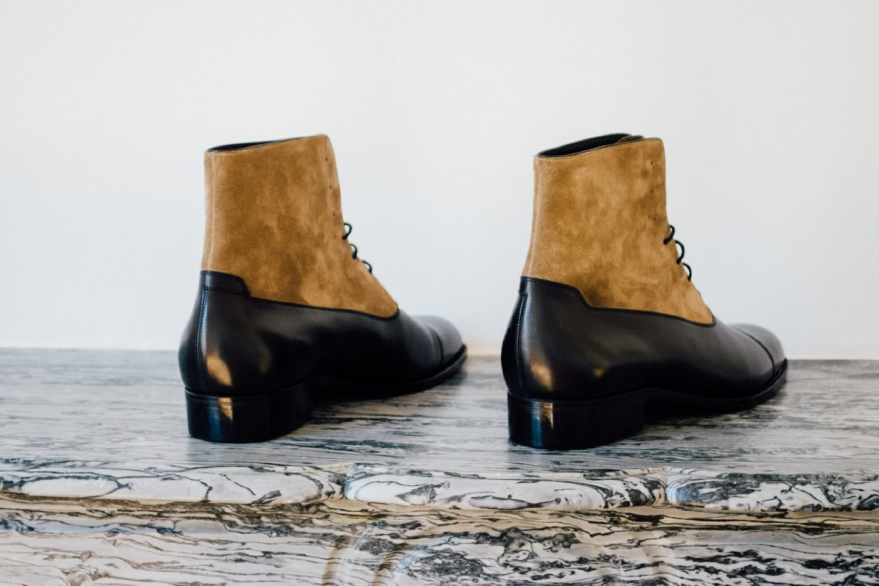 Mauban Handcrafted Black Taupe Balmoral Boots