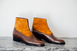 Mauban Handcrafted in France Brown Camel Balmoral Boots