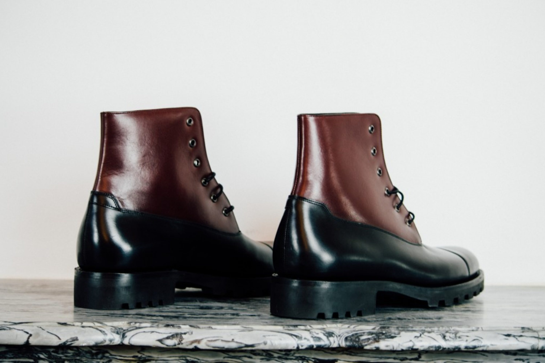 Mauban Black Burgundy Blitz Derby Commando Handcrafted Boots
