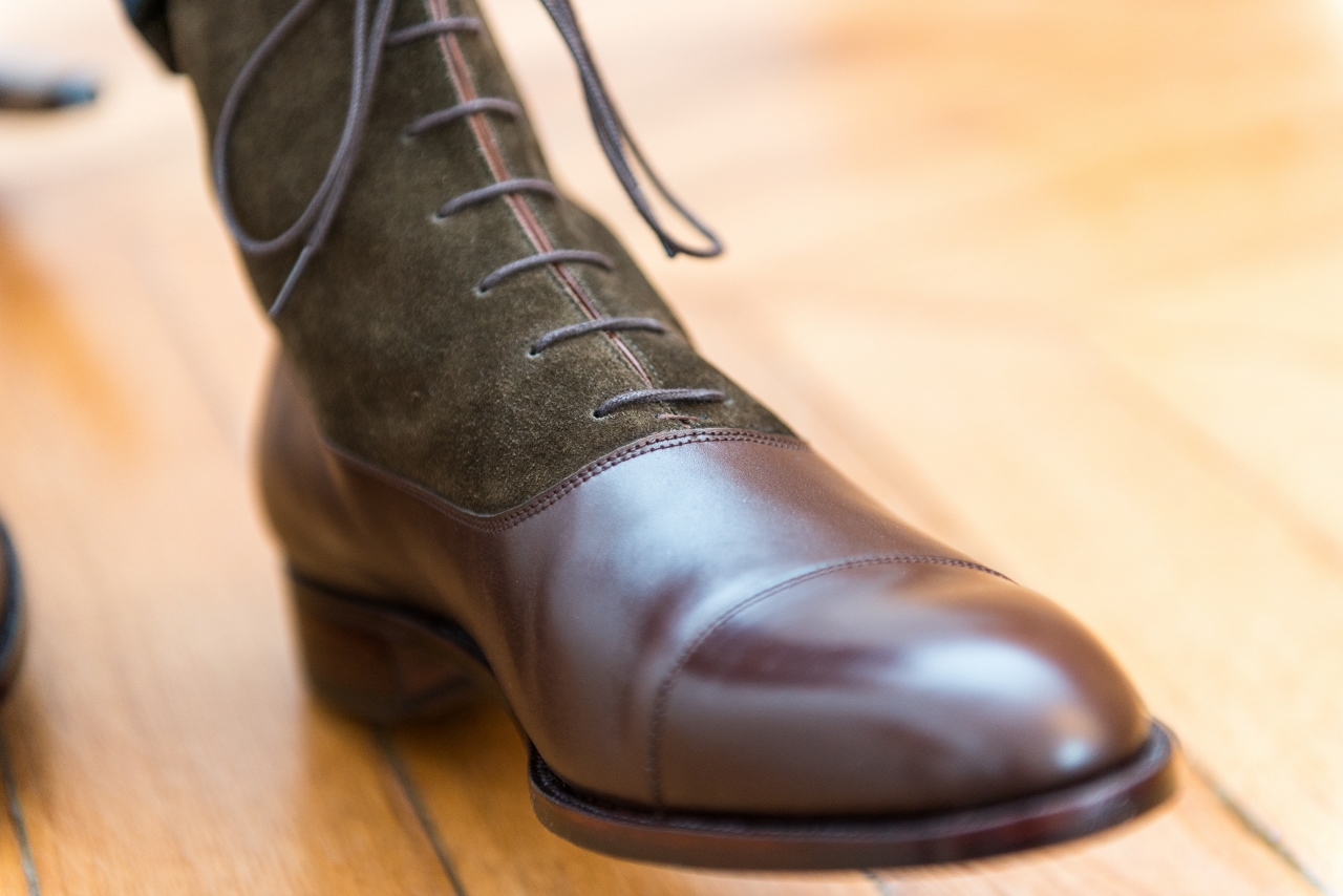 Mauban Handcrafted in France Brown Olive Balmoral Boots