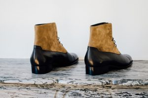 Mauban Handcrafted in France Black Taupe Balmoral Boots