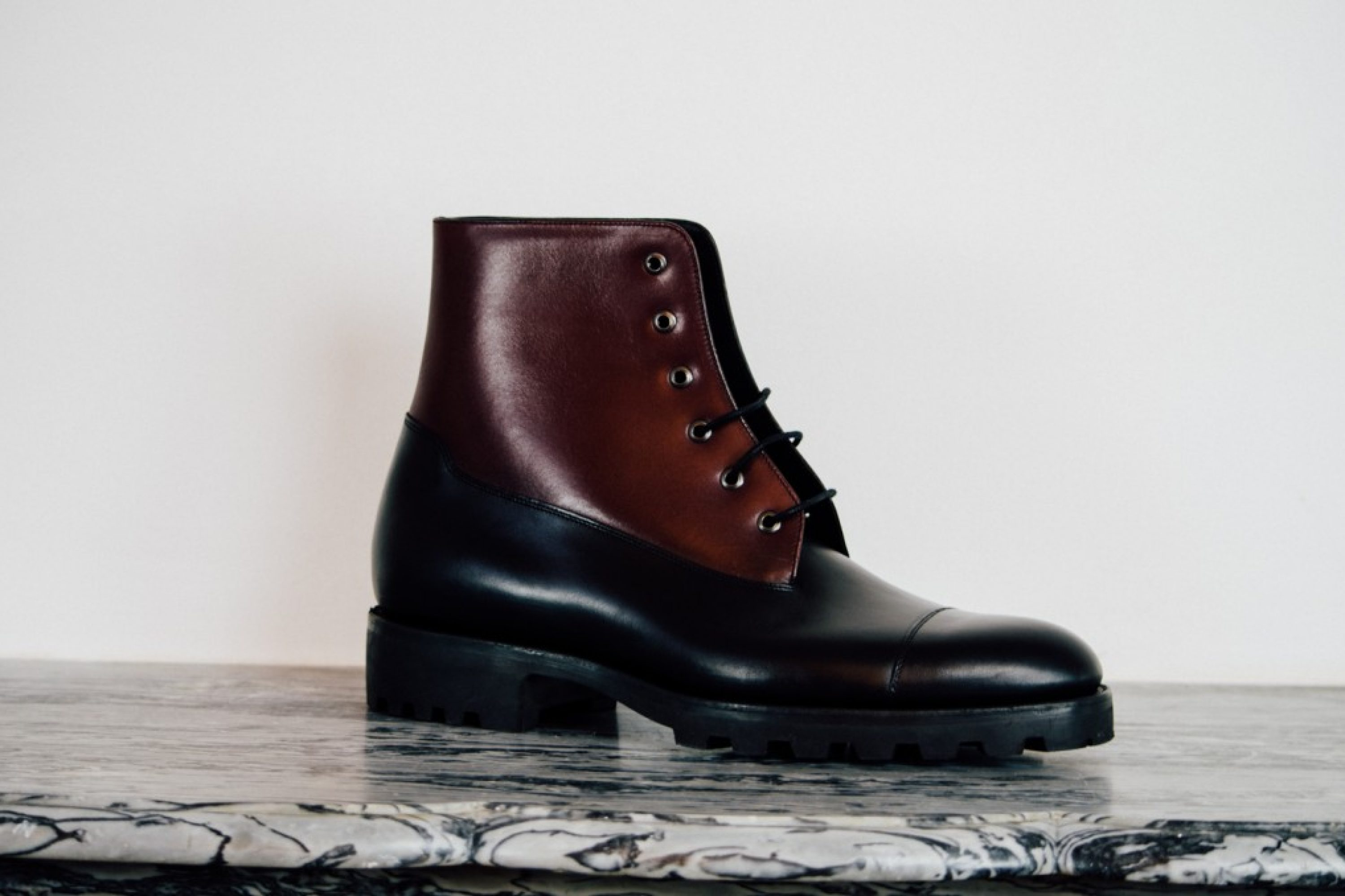 Mauban Handcrafted Black and Burgundy Blitz Boot