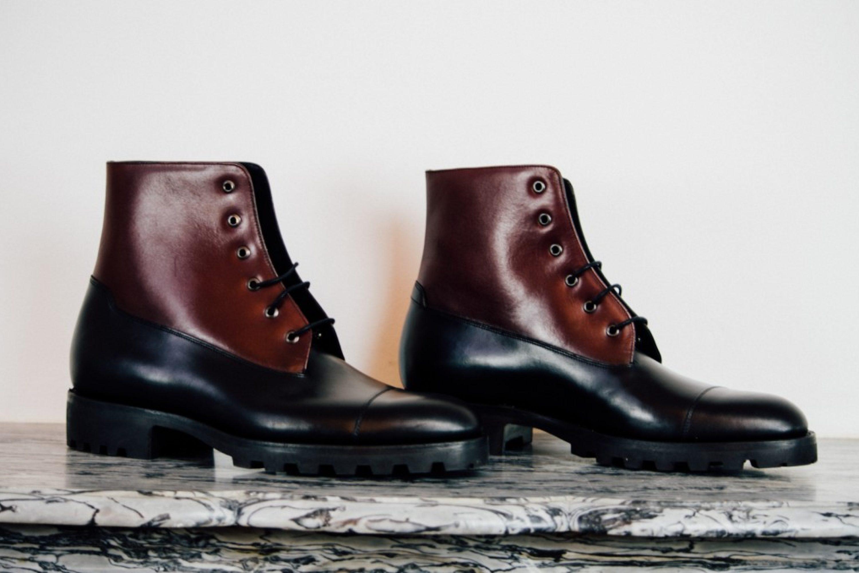 Mauban Black Burgundy Blitz Derby Commando Boots