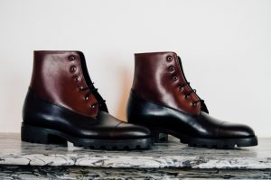 Mauban Handcrafted in France Black Burgundy Blitz Boots