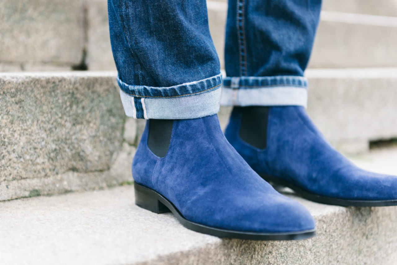 Mauban Handcrafted in France Blue Chelsea Boots